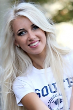 Ukrainian girl Daria,23 years old with blue eyes and blonde hair.