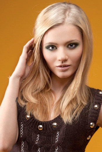 Russian girl Tatjana,21 years old with grey eyes and blonde hair.