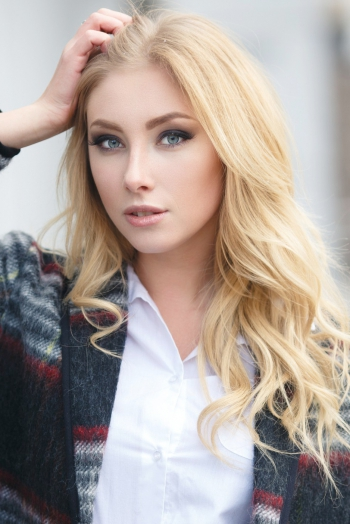 Ukrainian girl Ekaterina,23 years old with green eyes and blonde hair.