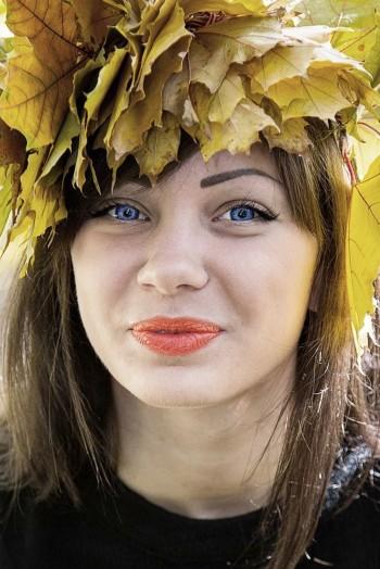 Ukrainian girl Olga,21 years old with blue eyes and dark brown hair.