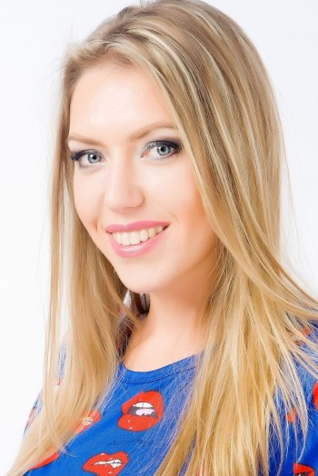 Ukrainian girl Anastasia,24 years old with blue eyes and blonde hair.